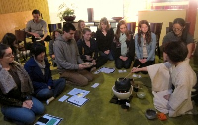 A lesson on basic Japanese tea ceremony provided to the TeaCal students.